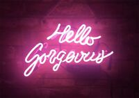 "14""x10""Hello Gorgeous Neon Sign Light Bar Handcraft Real Glass Wall Hanging Gift"