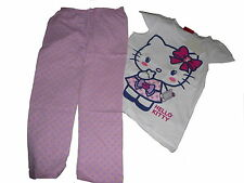 NEU toller Pyjama / Schlafanzug Gr. 98 / 104 weiß-rosa-lila Hello Kitty Motiv !