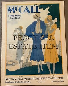 JUNE 1930 McCALL STYLE NEWS FASHIONS FLYER FROM GATES DRY GOODS FT DODGE, IA.