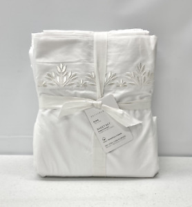 NEW Pottery Barn Blossom Embroidered Organic Percale KING Sheet Set~White