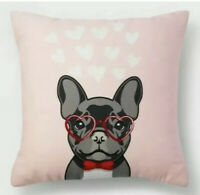 Valentines Day Pillow French Bulldog Puppy Dog Pink red Hearts Square 16 x 16 in
