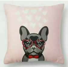 New ListingValentines Day Pillow French Bulldog Puppy Dog Pink red Hearts Square 16 x 16 in