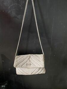 PRINCIPLES BEN DE LISI Grey Suede, Crossbody Shoulder Bag With Chain Strap