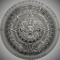 2018 $20 Cook Islands Aztec Calendar Stone 3oz Silver Antiqued Coin PCGSMS70 FD