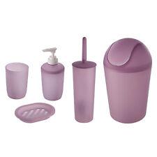 Set d'appoggio per bagno moderno 5 pezzi in plastica lilla trasparente