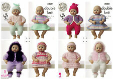 King Cole 4000 Knitting Pattern Dolls Clothes in King Cole  Big Value Baby DK
