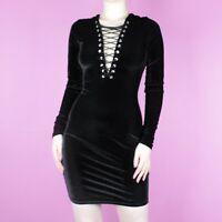 VINTAGE 90s Mini Black Lace Up Corset Bodycon Tie Velvet Party Dress XS 6 8
