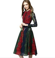 Runway Womens Lace Multicolor Long Sleeve Slim Fit Party A-Line Dress Occident