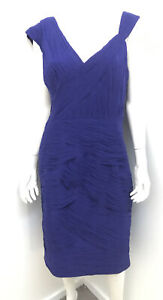New! GEORGE GROSS purple Silk Ruched Wedding Occasion dress ~ Size 14
