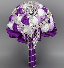 HANDMADE Satin Roses Flowers Crystal Brooch Tassel Wedding Bridal Bouquet Purple