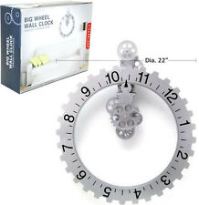 Large Wheel Clock Moving Gear Kikkerland Invotis Type 22 Wall Art Decor