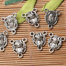 Tibetan silver plated Madonna 3 holes connectors 16pcs  EF3552
