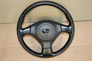 JDM 05-09 Subaru Legacy BL5 BP5 BPE OEM Momo Black Leather Steering Wheel SRS