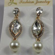 Silver Grey Crystal Pearl Big Statement Std Dangle Earrings Gold Tone UK Shop