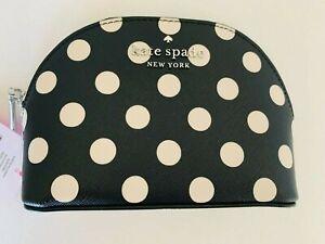 Kate Spade New York Staci dot black and white Dome Cosmetic Case Bag polka dot