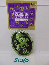 VINTAGE 1970'S EMBROIDERED PATCH APPLIQUE ZODIAK-ZODIAC SEW-ON LEO NOS