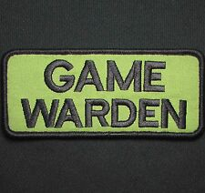 GAME WARDEN BLACK GREEN UNIFORM EMBROIDERED PATCH PANEL HOOK & LOOP 5X2.25
