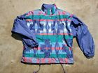 Vintage 80's 90s Andy Johns Sport Colorful  Button Up Windbreaker Size...
