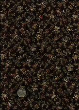 """Hampton Farm"" Floral Print red gold on brown Fabric - Little Quilts-Henry Glass"