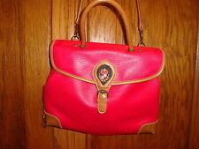 Vtg Capezio Purse Handbag Red with Luggage Trim Messenger Cross Body