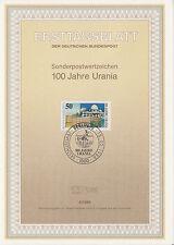 TIMBRE FDC ALLEMAGNE  BERLIN  OBL ERSTTAGSBLATT URANIA OBSERVATOIRE  1988