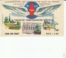 BILLET LOTERIE NATIONALE *CONFEDERATION DEBITANTS TABAC* 1960  (TIMBRE VENTOSE)