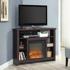 Corner Fireplace TV Stand BROWN Storage Cabinet Electric Space Heater Up To 48""