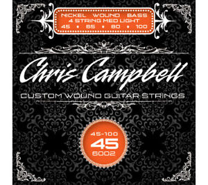 Chris Campbell 4-String Bass Strings Nickel Steel NPS Medium Light Gauge 45-100