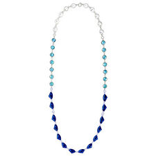 Rue Royale Convertible Long Station Statement Necklace Sky Blue Antique Silver