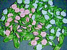 50 Satin Ribbon Roses - Applique Trim Sewing Bow Craft