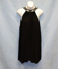 NWT Auth GUESS Jet Black A996 Tierred Pleated GGT Loose Style Cocktail Dress Sz8