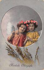 AK Herzliche Ostergrüße Zwei Engel Blumen Fotomontage Postkarte Feldpost 1917