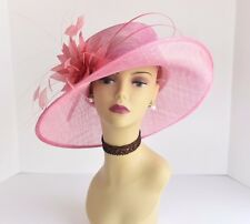 L17 Kentucky Derby Church Wedding Carriage Feather Flower Sinamay Medi hat Pink