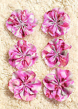 Cotton Flowers--- Hand Made--4 to 5 cm in Diameter x 6 flowers--Hand Sewn