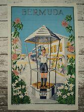 Vintage Lamont Irish Linen Tea Towel Souvenir BERMUDA Bobby in the Birdcage NEW