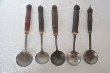 5 Pc Old Wooden Iron Handcrafted painted Spoons , Nice Patina