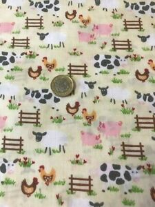 Farmyard sheep chickens cows Hens Duck fabric craft quilting dress mask material