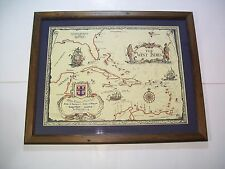 """VINTAGE ROYAL CARIBBEAN CRUISE LINE WEST INDIES FRAMED MAP 21"""" x 26"""" nautical"""