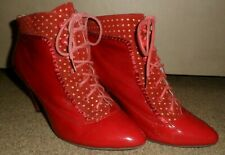 """MISS L FIRE RED PATENT LEATHER SUEDE 3"""" HIGH HEEL ANKLE  BOOTS UK 5 / 38"""