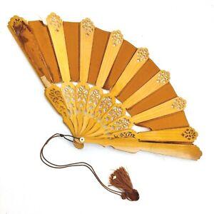 Antique Folding Hand Fan Wood & Fabric 1901 Original Box R.H. Stearns Co. Boston