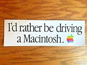"Apple Computer ""I'd Rather Be Driving a Macintosh"" bumper sticker - Steve Jobs"
