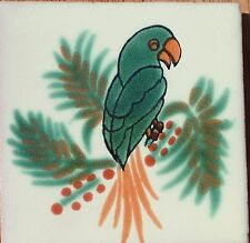 "10~MEXICAN TALAVERA POTTERY 4"" tile Hand Painted clay kiln fired Parrot Bird"
