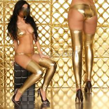 Metallic Leather Bikinis Bra Sexy Lingerie Set Pant latex Leggings Stocking club