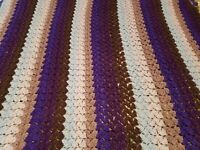 "Handmade Crocheted Afghan Blanket Purple Striped Large Stitched Soft 82"" X 75"" ("