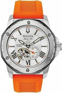 Bulova 98A226 Automatic Marine Star Watch 21 Jewel Orange Silicone Band 2021