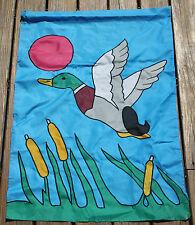 Large 40X27 Applique Mallard Duck Cattails Lake Summer Yard Garden Flag Banner