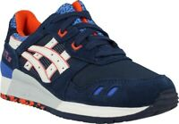 Junior Asics Gel Lyte III H52NK 5001 Navy White  Lace Up Casual Trainers
