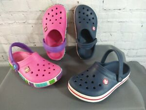 GUC lot of 2 girl's CROCS pink LEGO & navy blue CROCBAND classic clogs - SIZE 3