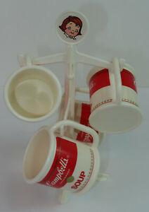 Campbell's Soup Kids Toy Mug & Mug Tree Playset Plastic Set of 4 + Tree