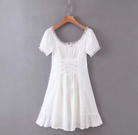 white lace VINTAGE NEW DESIGN short DRESSES womens summer dress french style new